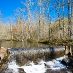 A dam on Moccasin Creek routes water to the fish hatchery