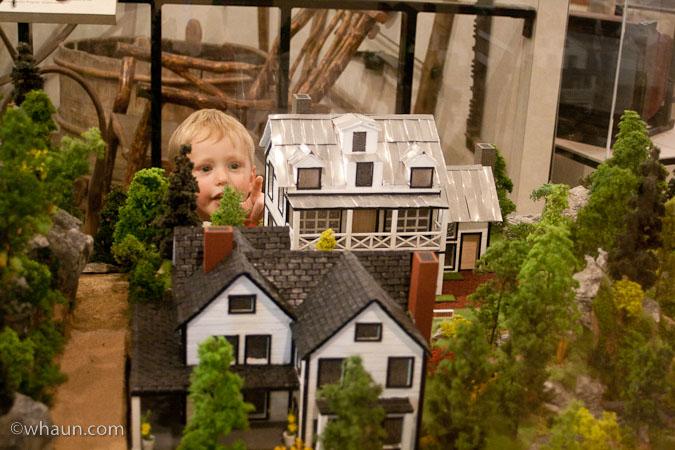Trey checks out a model of the town of Tallulah Falls circa 1850