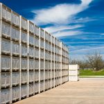 Hundreds of crates ready to be filled with peaches later in the year