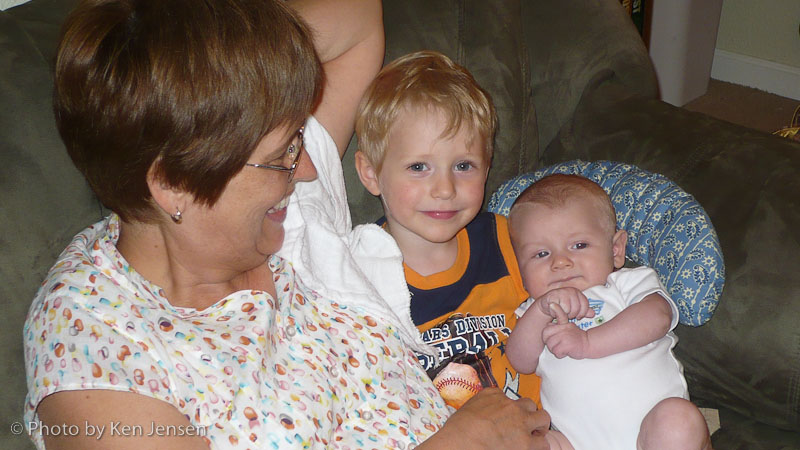 Trey holds his cousin Oliver Engelman