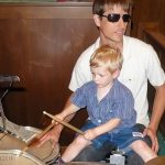 Playing drums with Uncle Kenny at church