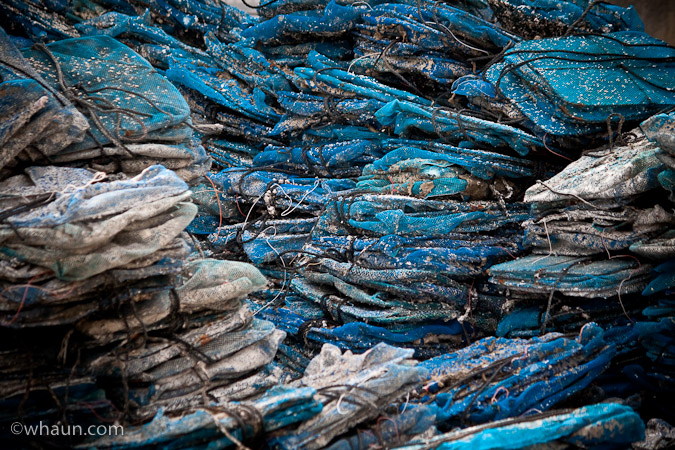 Unused oyster bags at Bouzigues, France