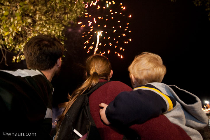 The Haun family watches the fireworks display at the end of the day